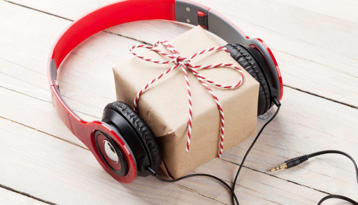 Christmas present with headphones
